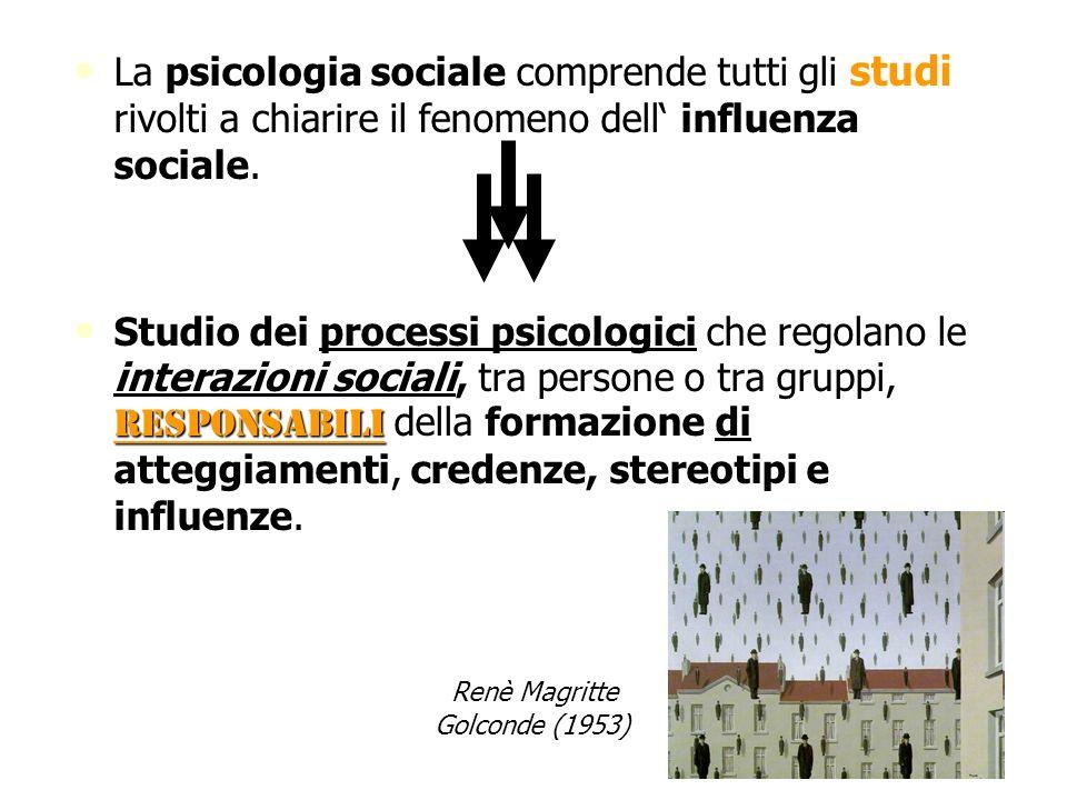La psicologia sociale comprende tutti gli rivolti a chiarire il fenomeno dell influenza sociale. La psicologia sociale comprende tutti gli studi rivol