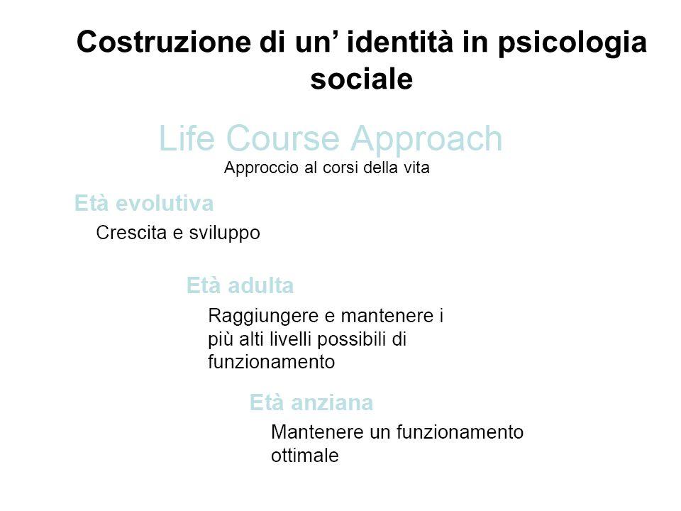 Costruzione di un identità in psicologia sociale Approccio al corsi della vita