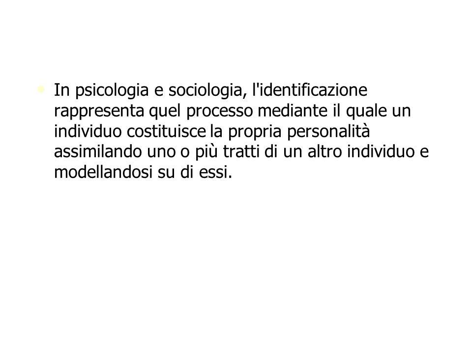 In psicologia e sociologia, l'identificazione rappresenta quel processo mediante il quale un individuo costituisce la propria personalità assimilando
