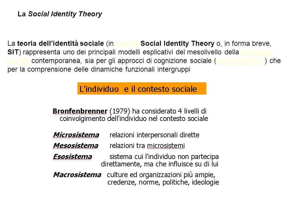La Social Identity Theory La teoria dell'identità sociale (in inglese Social Identity Theory o, in forma breve, SIT) rappresenta uno dei principali mo