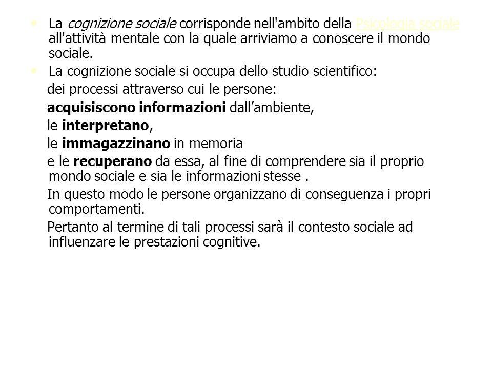 La cognizione sociale corrisponde nell'ambito della Psicologia sociale all'attività mentale con la quale arriviamo a conoscere il mondo sociale. La co