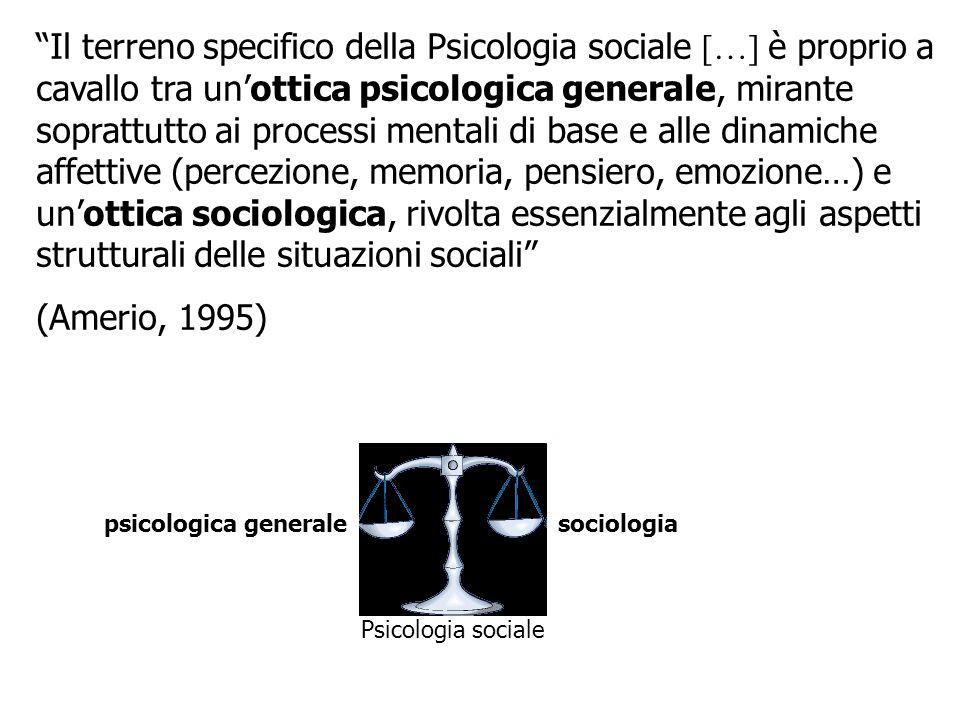 Il terreno specifico della Psicologia sociale […] è proprio a cavallo tra unottica psicologica generale, mirante soprattutto ai processi mentali di ba