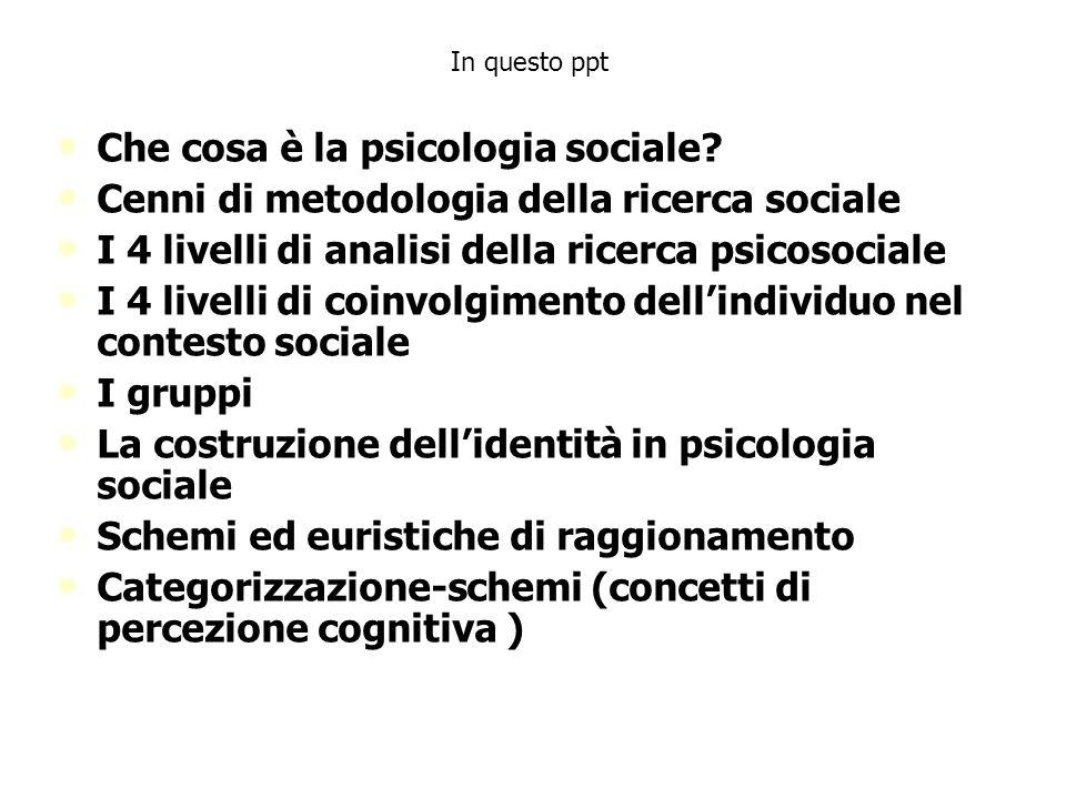 Nel campo di studio della Psicologia sociale entrano: LIVELLO INTRAPERSONALE LIVELLO INTERPERSONALE LIVELLO IDEOLOGICO DIFFERENZE NELLA POSIZIONE SOCIALE