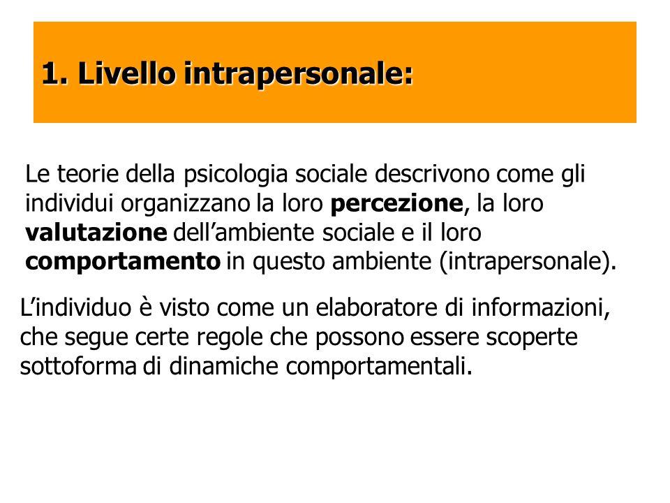 1. Livello intrapersonale: Le teorie della psicologia sociale descrivono come gli individui organizzano la loro percezione, la loro valutazione dellam