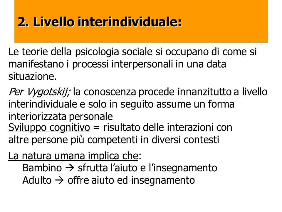 2. Livello interindividuale: Le teorie della psicologia sociale si occupano di come si manifestano i processi interpersonali in una data situazione. P
