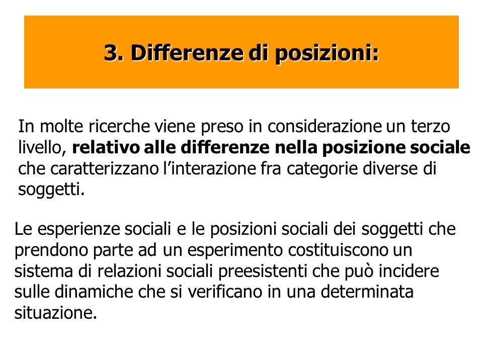 3. Differenze di posizioni: In molte ricerche viene preso in considerazione un terzo livello, relativo alle differenze nella posizione sociale che car