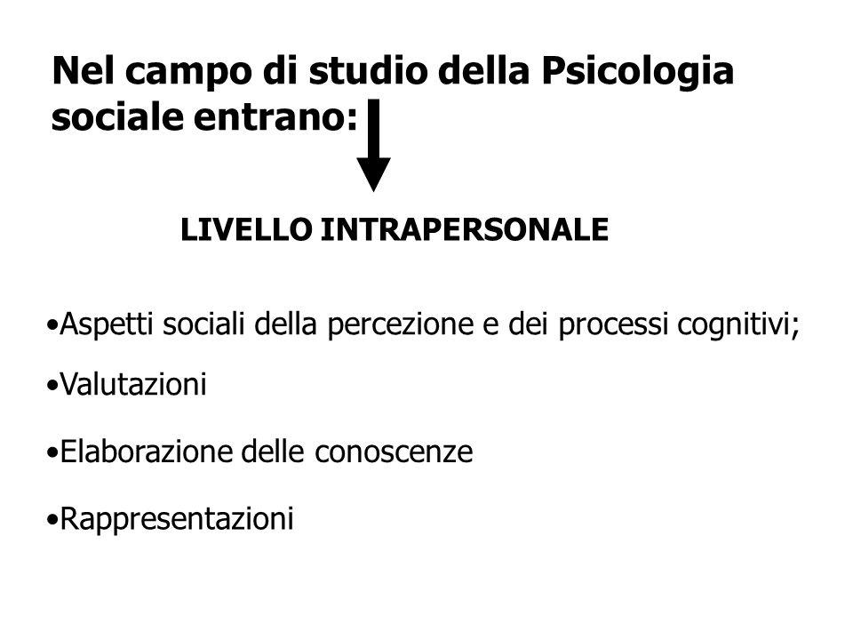 Nel campo di studio della Psicologia sociale entrano: Aspetti sociali della percezione e dei processi cognitivi; Valutazioni Elaborazione delle conosc