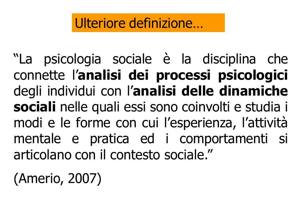 La psicologia sociale è la disciplina che connette lanalisi dei processi psicologici degli individui con lanalisi delle dinamiche sociali nelle quali