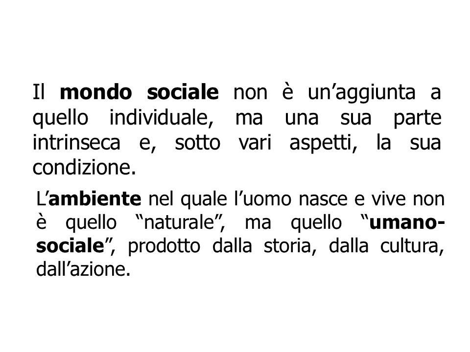 Il mondo sociale non è unaggiunta a quello individuale, ma una sua parte intrinseca e, sotto vari aspetti, la sua condizione. Lambiente nel quale luom