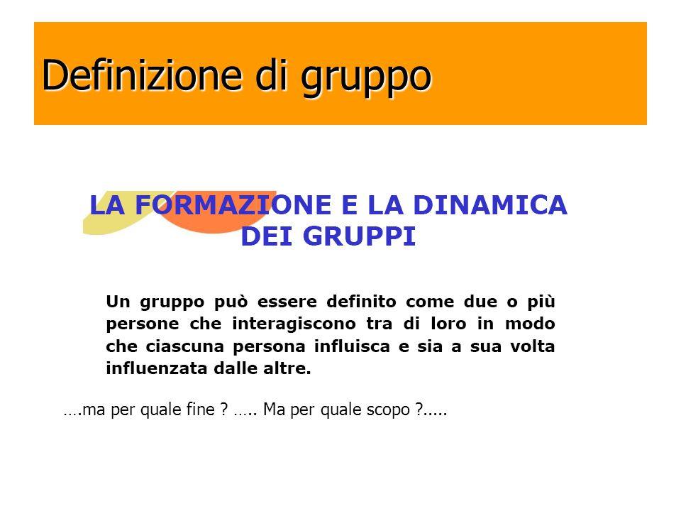 Definizione di gruppo ….ma per quale fine ? ….. Ma per quale scopo ?.....
