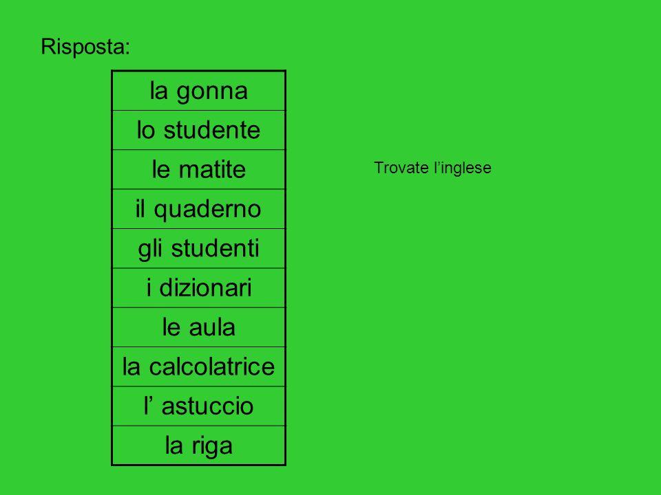 la gonna lo studente le matite il quaderno gli studenti i dizionari le aula la calcolatrice l astuccio la riga Risposta: Trovate linglese