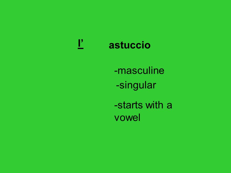 zaino lo -masculine -singular -starts with z s followed by consonant, ps or gn