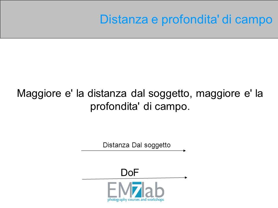 Distanza Dal soggetto DoF Maggiore e' la distanza dal soggetto, maggiore e' la profondita' di campo. Distanza e profondita' di campo