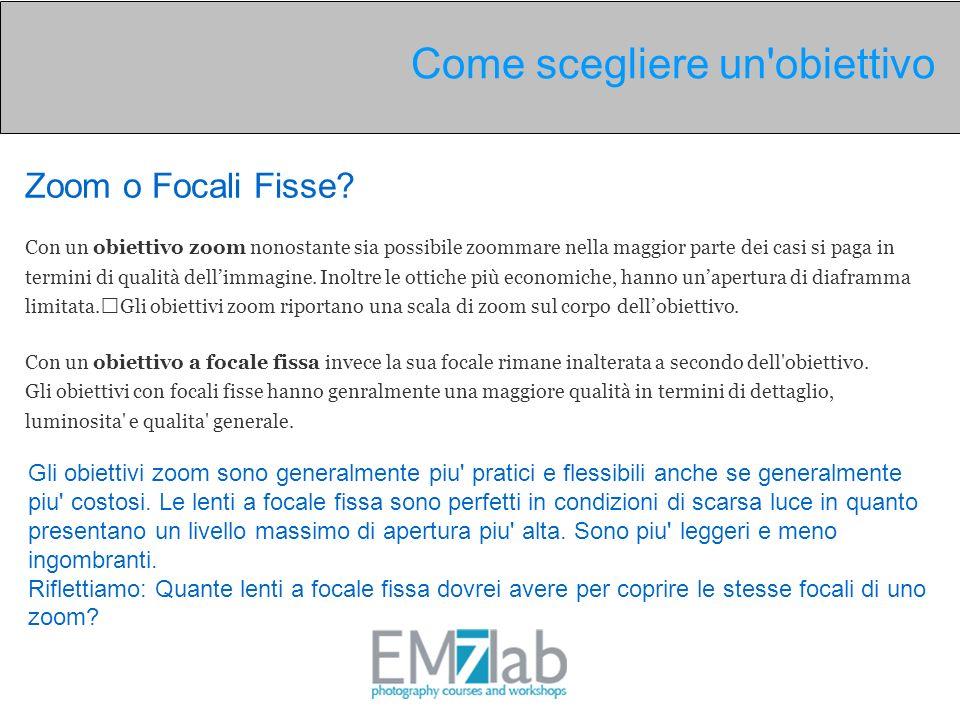 Zoom o Focali Fisse? Con un obiettivo zoom nonostante sia possibile zoommare nella maggior parte dei casi si paga in termini di qualità dellimmagine.