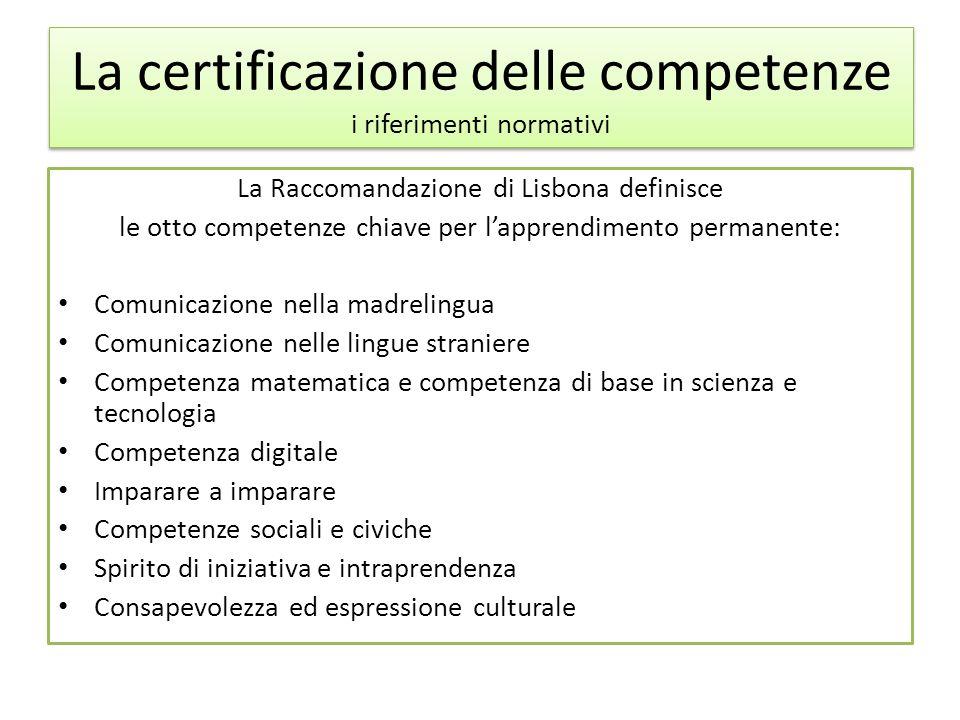 La certificazione delle competenze dagli Assi culturali alle Aree dal Regolamento dei licei Identità dei licei (art.