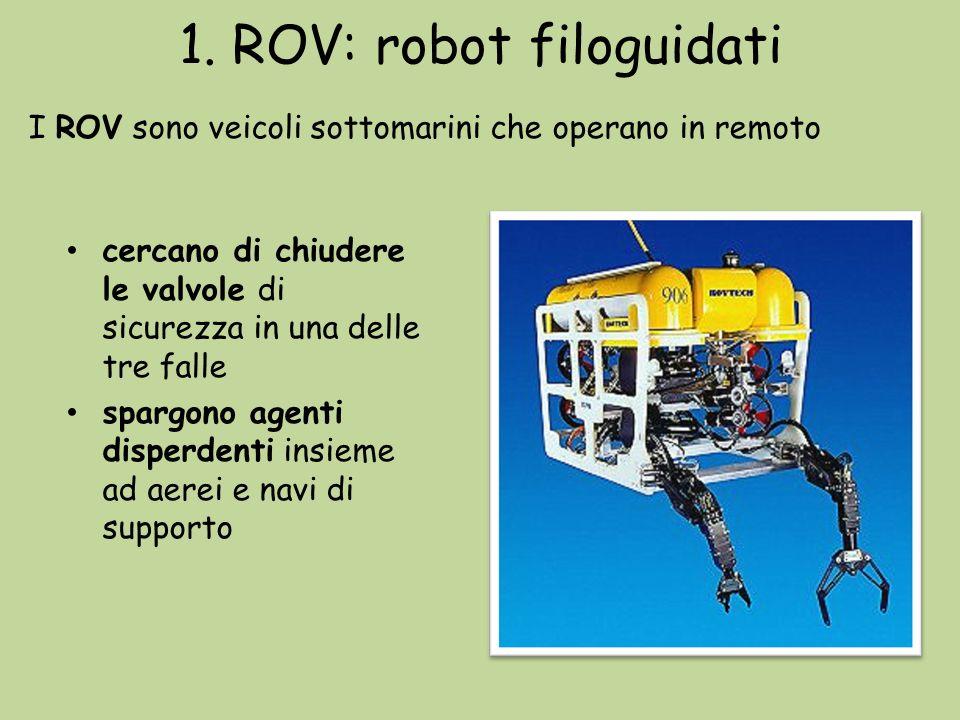 1. ROV: robot filoguidati cercano di chiudere le valvole di sicurezza in una delle tre falle spargono agenti disperdenti insieme ad aerei e navi di su