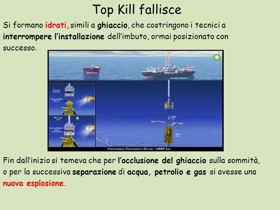 Top Kill fallisce Si formano idrati, simili a ghiaccio, che costringono i tecnici a interrompere linstallazione dellimbuto, ormai posizionato con succ