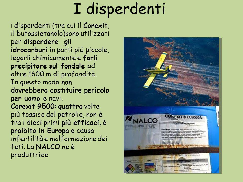 I disperdenti I disperdenti (tra cui il Corexit, il butossietanolo)sono utilizzati per disperdere gli idrocarburi in parti più piccole, legarli chimic