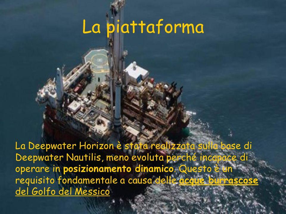 La piattaforma La Deepwater Horizon è stata realizzata sulla base di Deepwater Nautilis, meno evoluta perché incapace di operare in posizionamento din