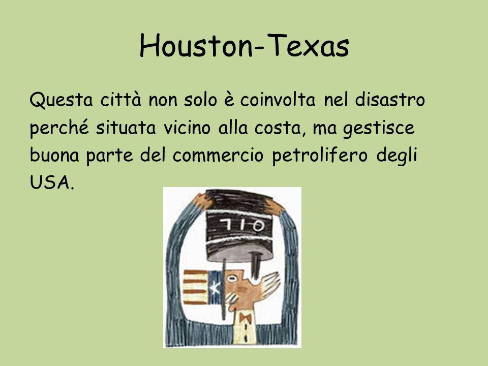 Houston-Texas Questa città non solo è coinvolta nel disastro perché situata vicino alla costa, ma gestisce buona parte del commercio petrolifero degli