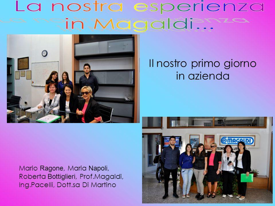Il nostro primo giorno in azienda Mario Ragone, Maria Napoli, Roberta Bottiglieri, Prof.Magaldi, Ing.Pacelli, Dott.sa Di Martino