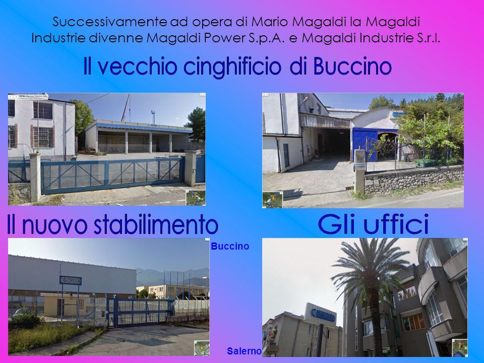 Successivamente ad opera di Mario Magaldi la Magaldi Industrie divenne Magaldi Power S.p.A. e Magaldi Industrie S.r.l. Buccino Salerno