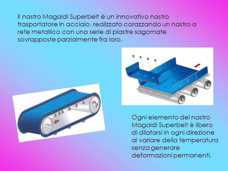 Il nastro Magaldi Superbelt è un innovativo nastro trasportatore in acciaio, realizzato corazzando un nastro a rete metallico con una serie di piastre