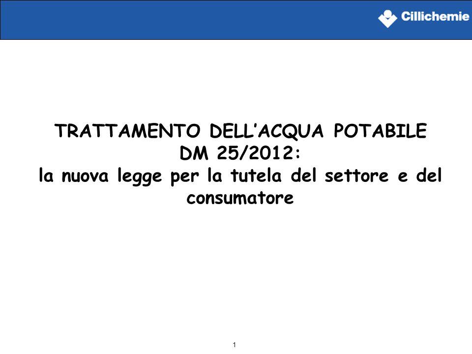 1 TRATTAMENTO DELLACQUA POTABILE DM 25/2012: la nuova legge per la tutela del settore e del consumatore