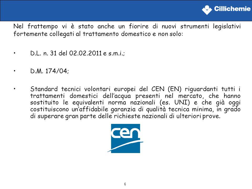6 D.L. n. 31 del 02.02.2011 e s.m.i.; D.M. 174/04; Standard tecnici volontari europei del CEN (EN) riguardanti tutti i trattamenti domestici dellacqua