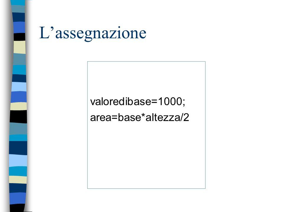 Lassegnazione valoredibase=1000; area=base*altezza/2