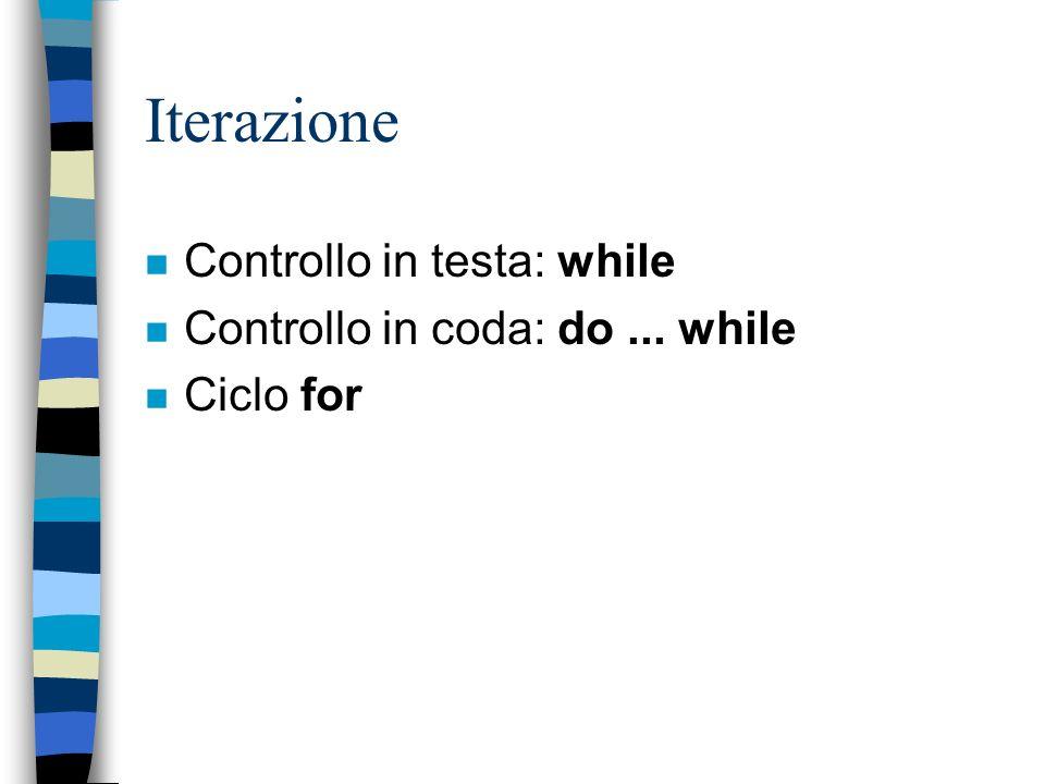 Iterazione n Controllo in testa: while n Controllo in coda: do... while n Ciclo for