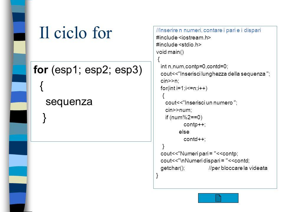 Il ciclo for for (esp1; esp2; esp3) { sequenza } //Inserire n numeri, contare i pari e i dispari #include void main() { int n,num,contp=0,contd=0; cou