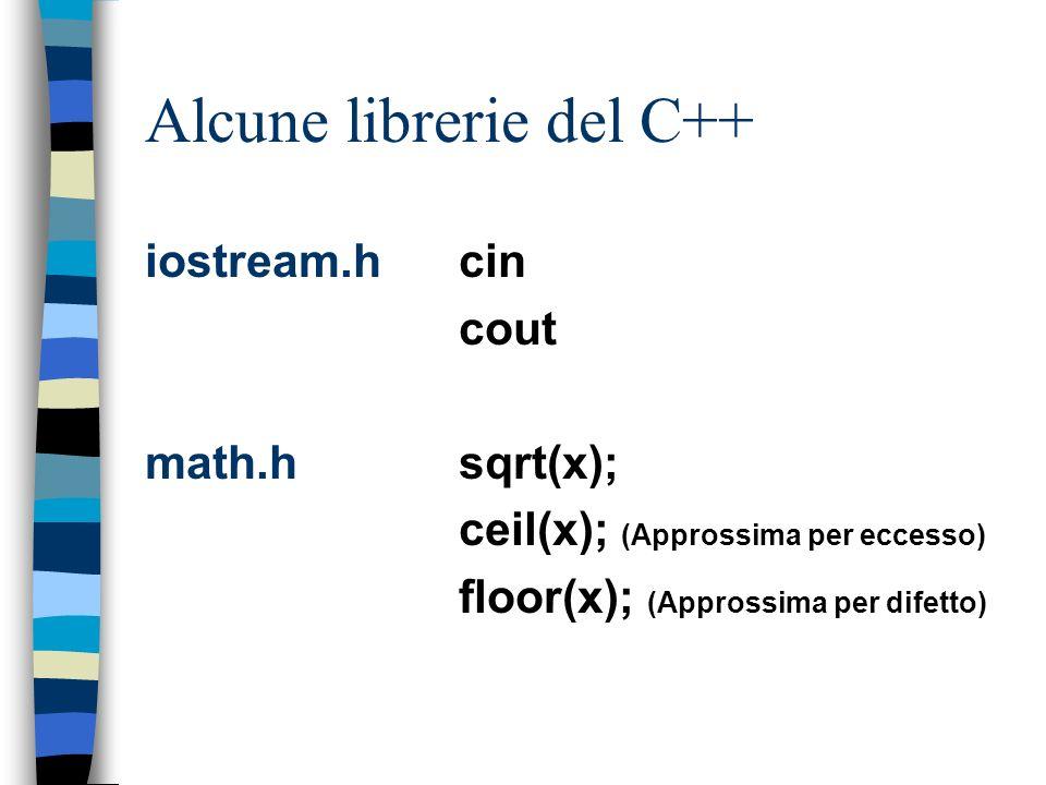 Alcune librerie del C++ iostream.hcin cout math.hsqrt(x); ceil(x); (Approssima per eccesso) floor(x); (Approssima per difetto)