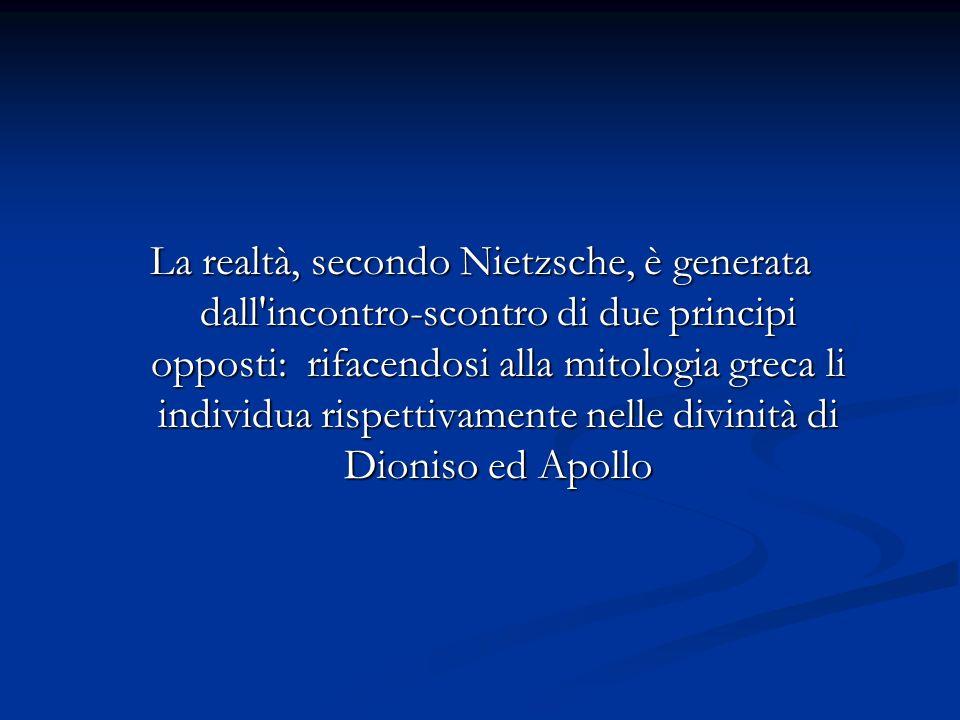 La realtà, secondo Nietzsche, è generata dall'incontro-scontro di due principi opposti: rifacendosi alla mitologia greca li individua rispettivamente