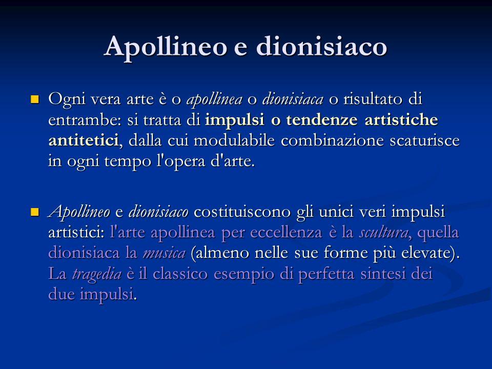 Apollineo e dionisiaco Ogni vera arte è o apollinea o dionisiaca o risultato di entrambe: si tratta di impulsi o tendenze artistiche antitetici, dalla