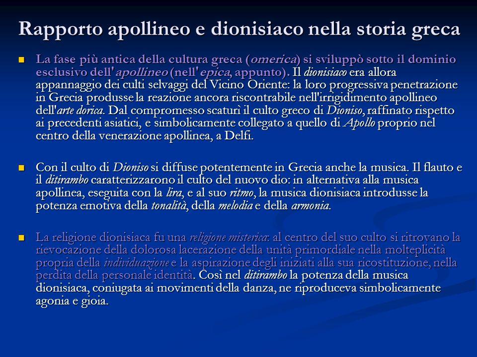 Rapporto apollineo e dionisiaco nella storia greca La fase più antica della cultura greca (omerica) si sviluppò sotto il dominio esclusivo dell'apolli