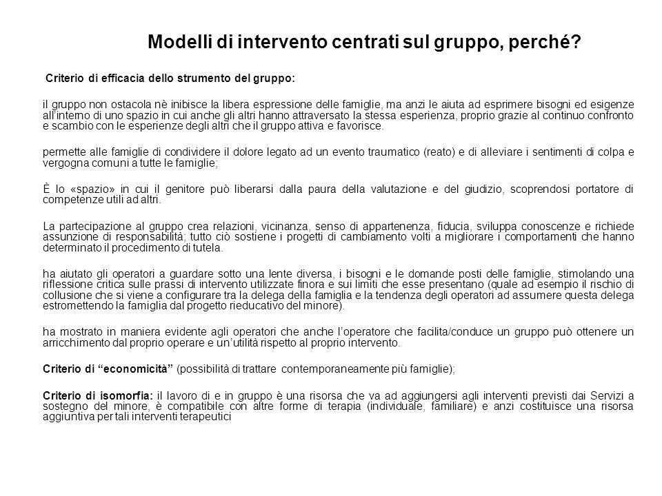 Modelli di intervento centrati sul gruppo, perché? Criterio di efficacia dello strumento del gruppo: il gruppo non ostacola nè inibisce la libera espr