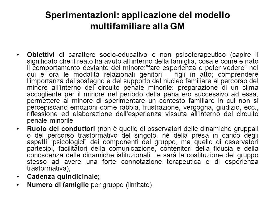 Sperimentazioni: applicazione del modello multifamiliare alla GM Obiettivi di carattere socio-educativo e non psicoterapeutico (capire il significato