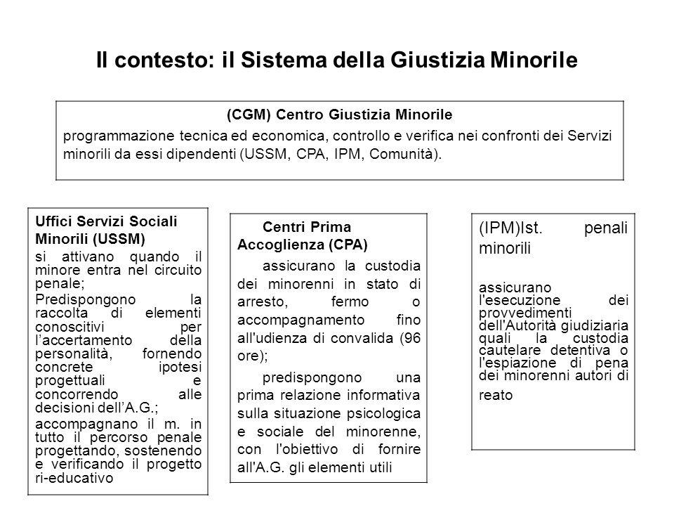 Il contesto: il Sistema della Giustizia Minorile Centri Prima Accoglienza (CPA) assicurano la custodia dei minorenni in stato di arresto, fermo o acco