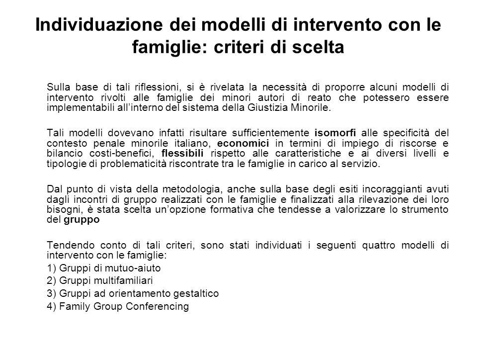 Individuazione dei modelli di intervento con le famiglie: criteri di scelta Sulla base di tali riflessioni, si è rivelata la necessità di proporre alc