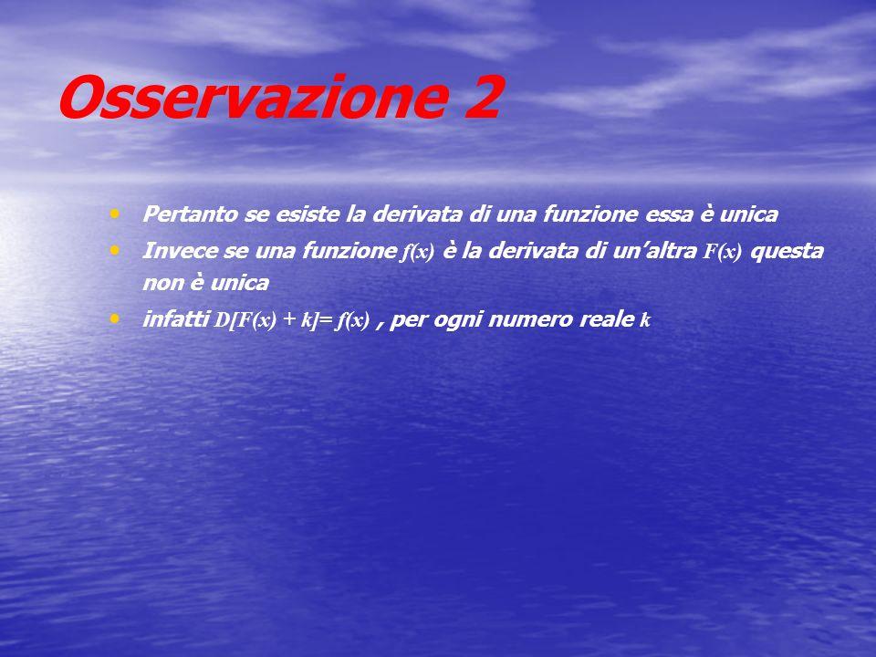 Osservazione 2 Pertanto se esiste la derivata di una funzione essa è unica Invece se una funzione f(x) è la derivata di unaltra F(x) questa non è unic
