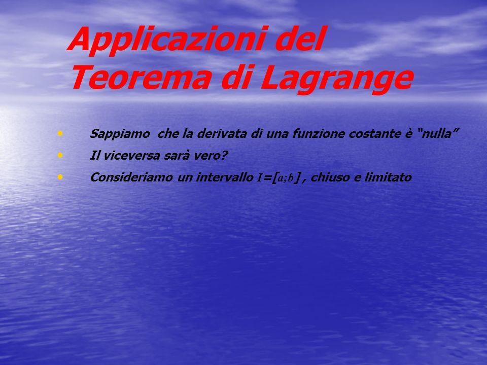 Applicazioni del Teorema di Lagrange Sappiamo che la derivata di una funzione costante è nulla Il viceversa sarà vero? Consideriamo un intervallo I =[