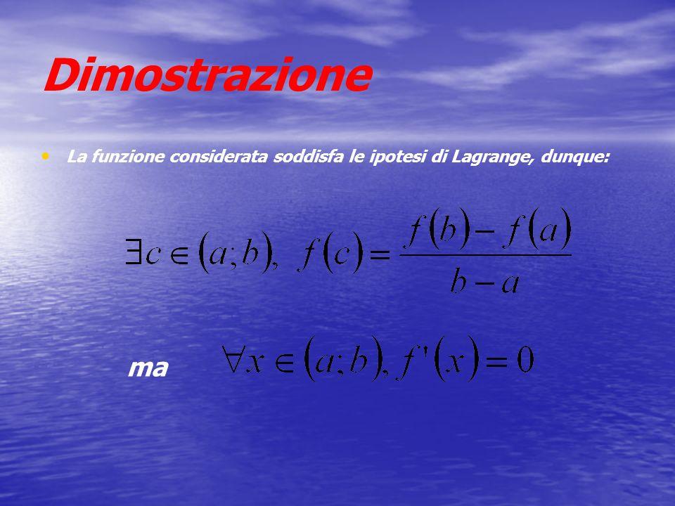 Dimostrazione La funzione considerata soddisfa le ipotesi di Lagrange, dunque: ma