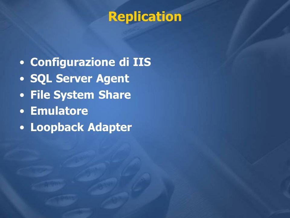 Replication Configurazione di IIS SQL Server Agent File System Share Emulatore Loopback Adapter