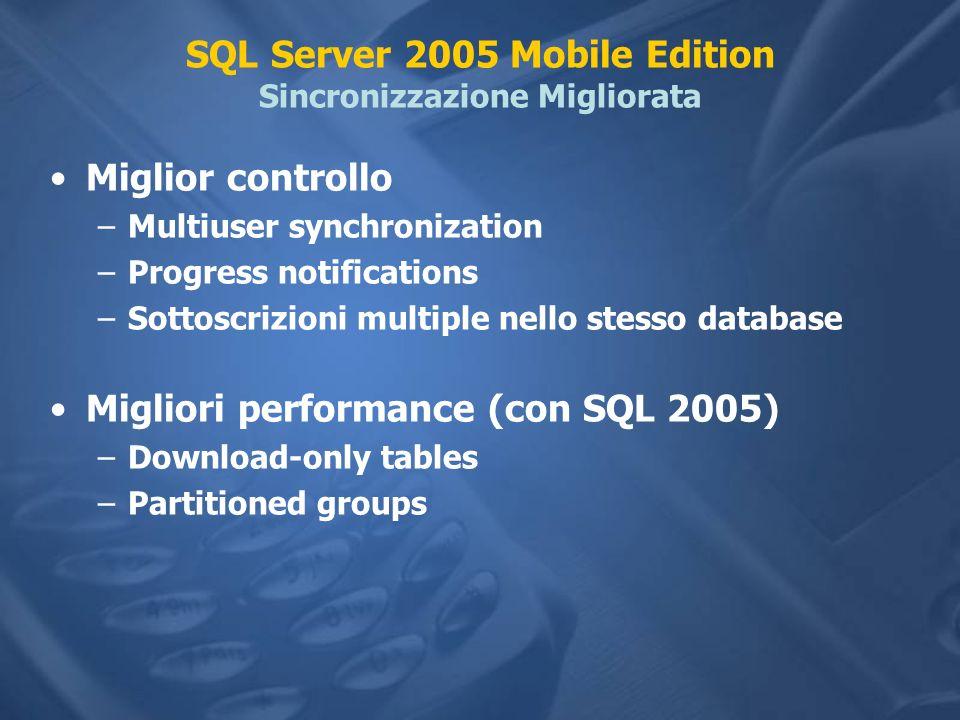 SQL Server 2005 Mobile Edition Sincronizzazione Migliorata Miglior controllo –Multiuser synchronization –Progress notifications –Sottoscrizioni multiple nello stesso database Migliori performance (con SQL 2005) –Download-only tables –Partitioned groups