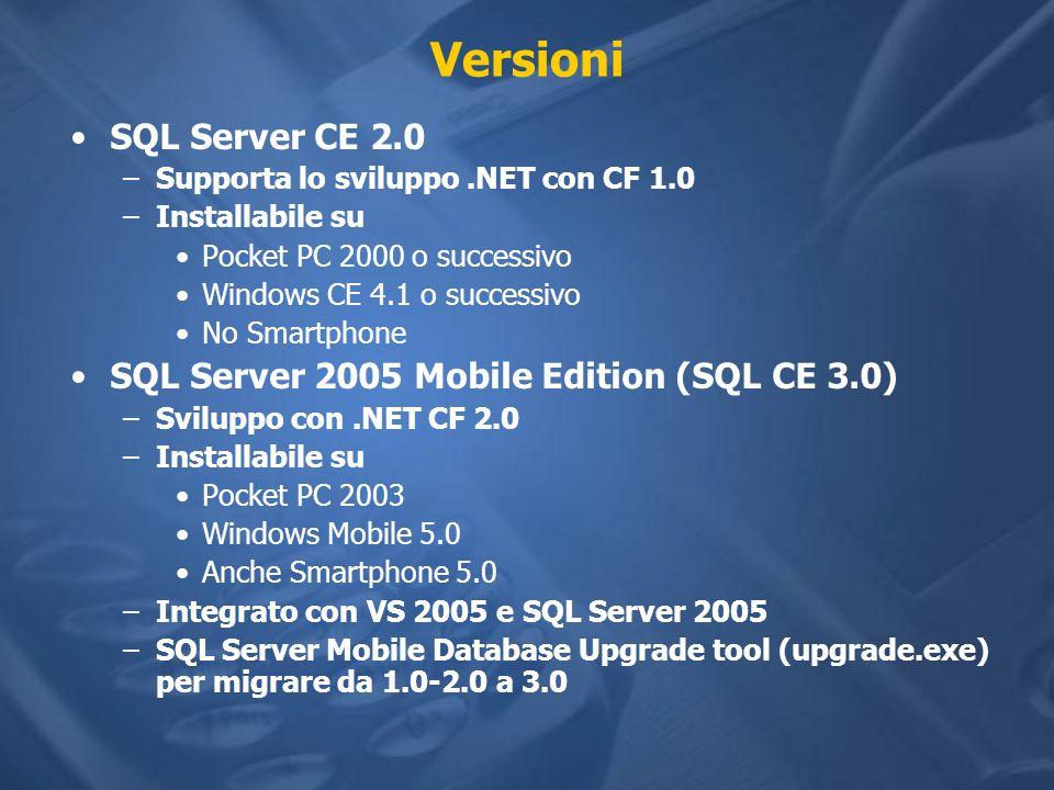 Versioni SQL Server CE 2.0 –Supporta lo sviluppo.NET con CF 1.0 –Installabile su Pocket PC 2000 o successivo Windows CE 4.1 o successivo No Smartphone