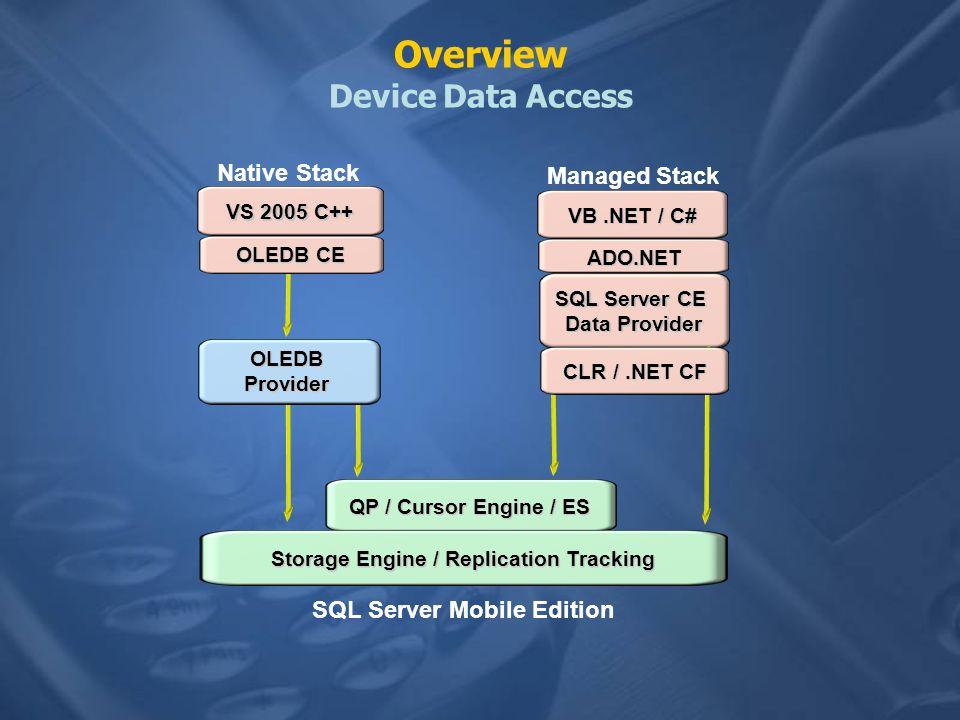 SQL Server 2005 Mobile Edition Architettura Migliorata Storage engine –Supporto per Connessioni Multiple –Row level locking –Shares common memory pool –Auto-shrink –SqlCeEngine.Shrink –SqlCeEngine.Repair Query processor –Ottimizzazione Cost-based –Cursori Scrollable e Updatable - SqlCeResultSet