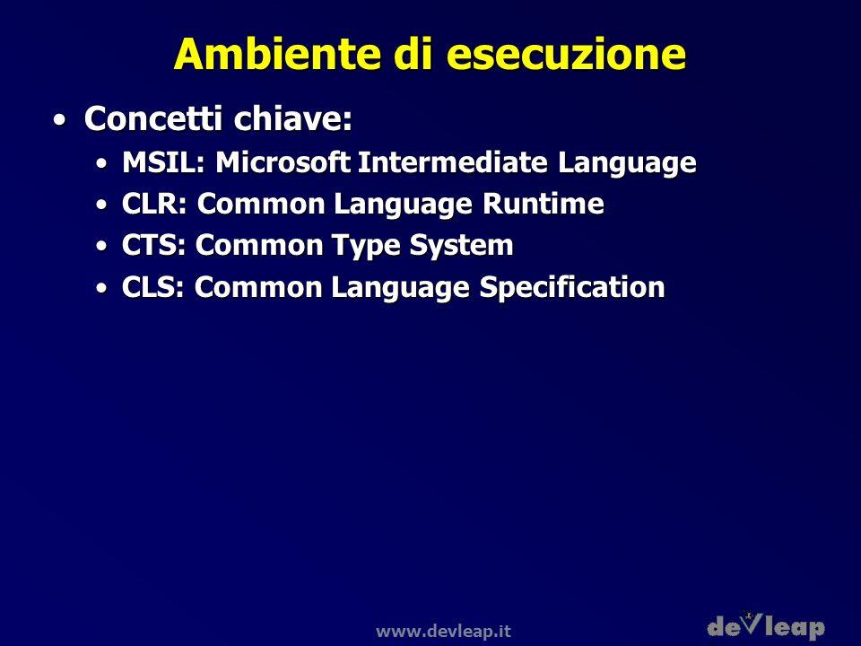 www.devleap.it Ambiente di esecuzione Concetti chiave:Concetti chiave: MSIL: Microsoft Intermediate LanguageMSIL: Microsoft Intermediate Language CLR: