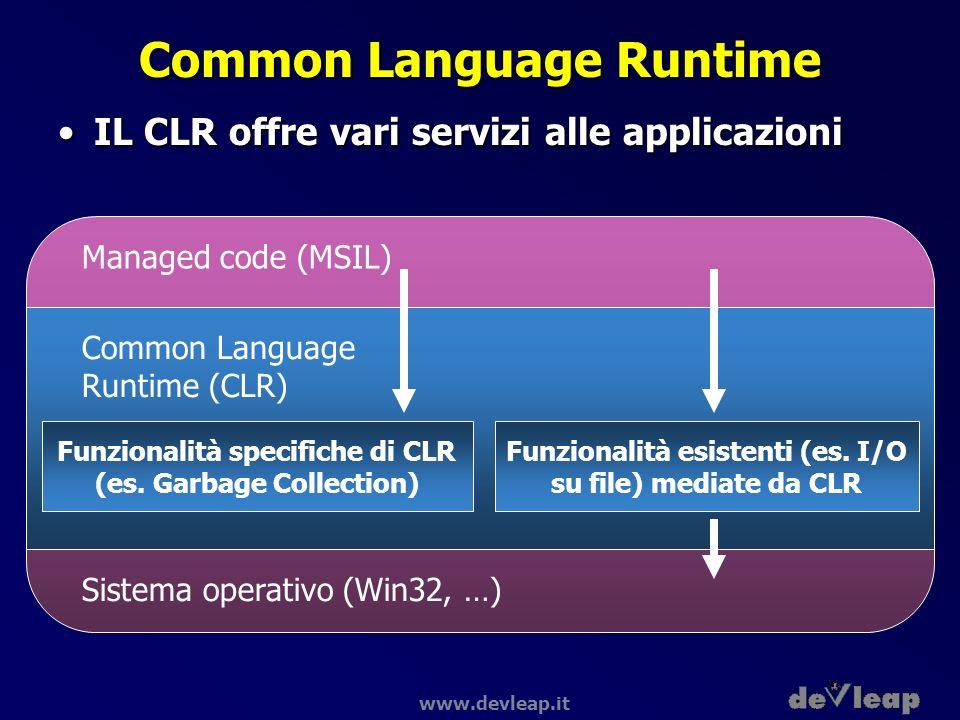 www.devleap.it Common Language Runtime IL CLR offre vari servizi alle applicazioniIL CLR offre vari servizi alle applicazioni Managed code (MSIL) Sist