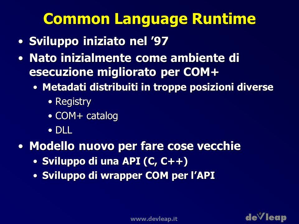 www.devleap.it Common Language Runtime Sviluppo iniziato nel 97Sviluppo iniziato nel 97 Nato inizialmente come ambiente di esecuzione migliorato per C